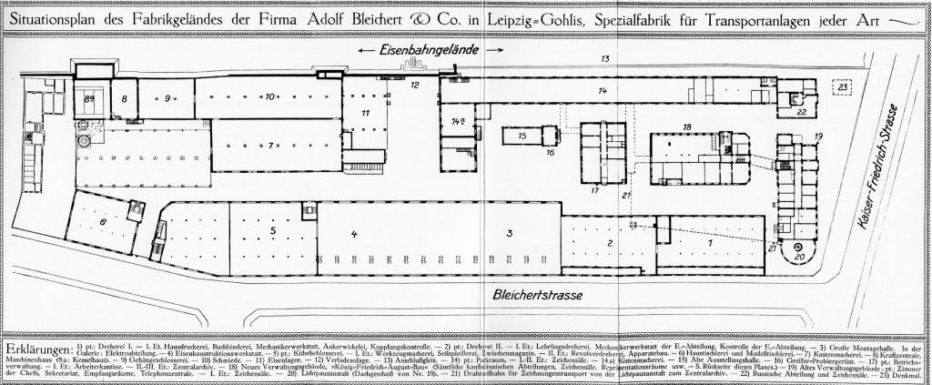 Bleichert Fabrik Leipzig-Gohlis Lageplan 1911
