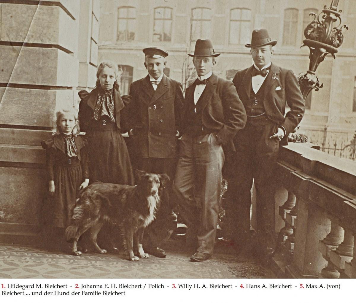 Balcony Villa Hilda Leipzig-Gohlis-Johanna B.-Polich,Hildegard +4.5.1901, Willy, Hans , Max Bleichert - Copia
