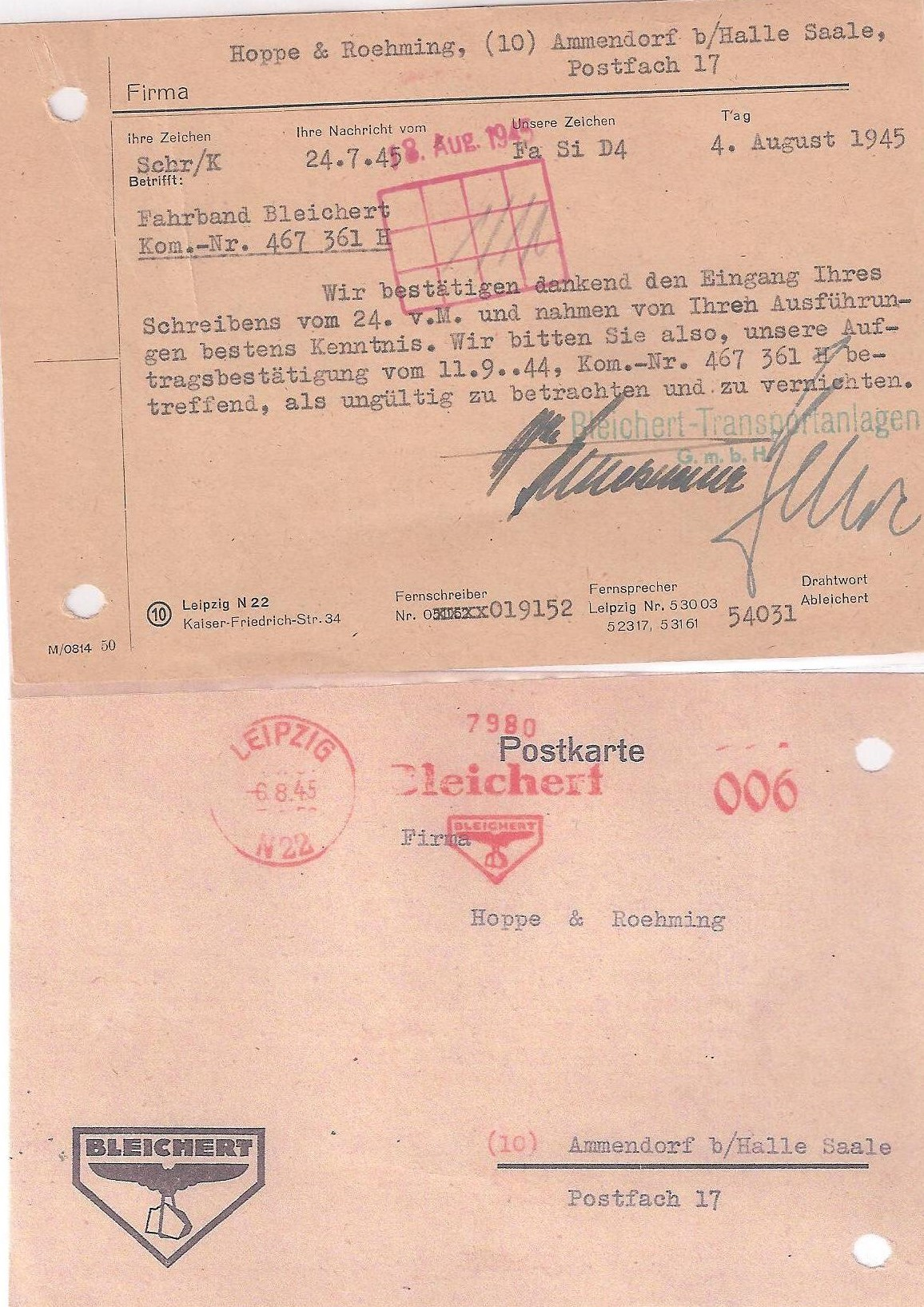 1945 Postcard