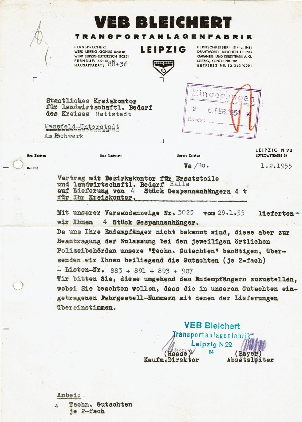 1955 VEB Bleichert letter