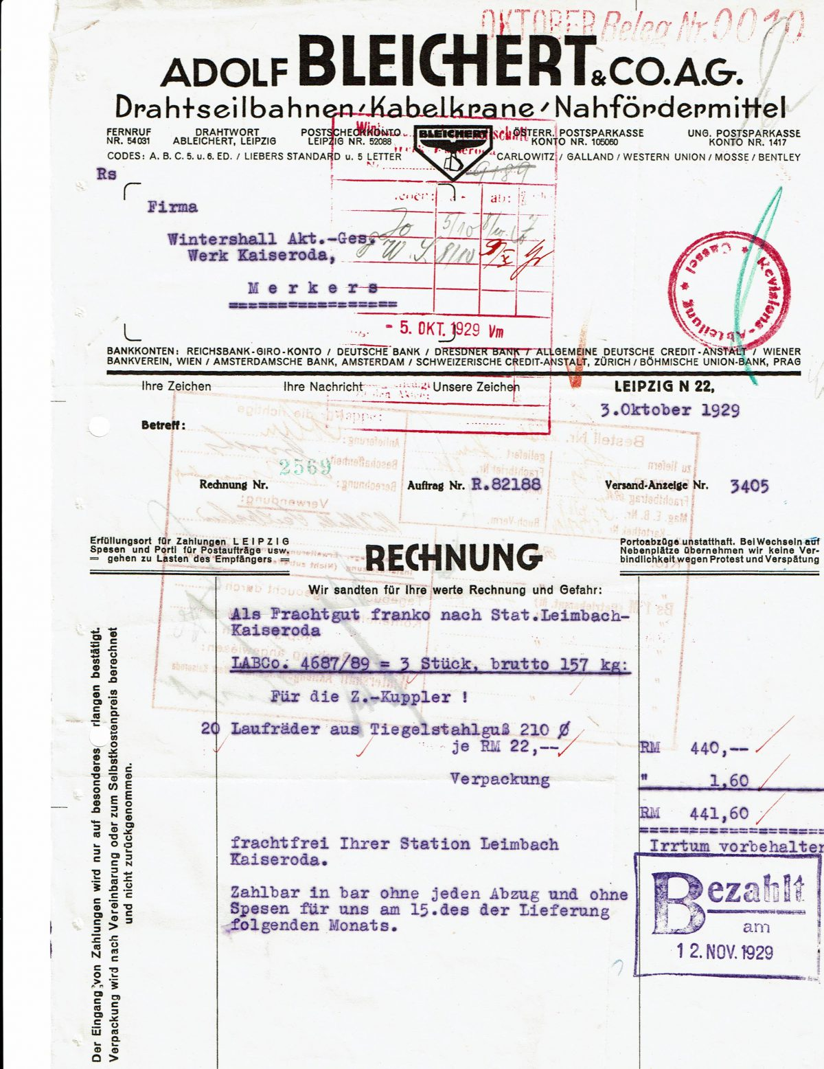 Bleichert & Co. Rechnung 03.10.1929