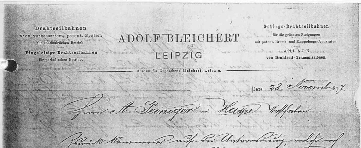 Briefkopf 1877 (Adolf Bleichert)