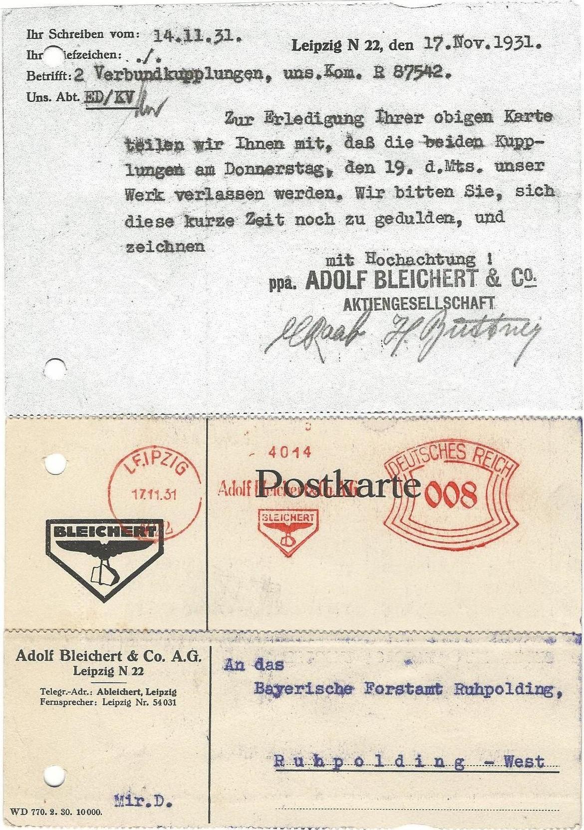 Postard Bav.Forestry 14.11.1931